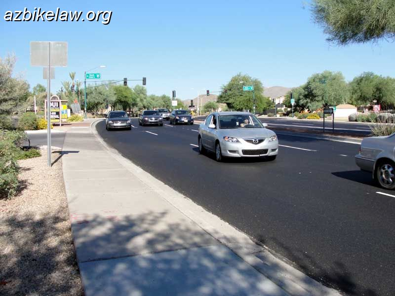 Ray Road eastbound towards 44th street; after edge stripe was removed