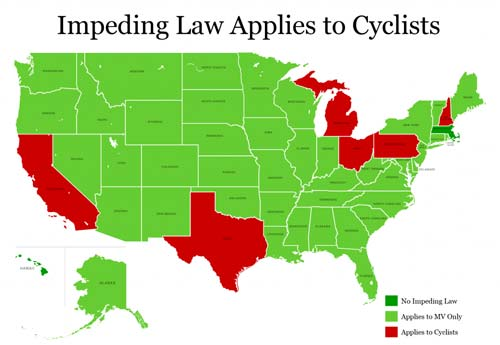 """green"" states specify that impeding law applies only to motorists"