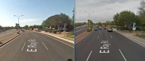 There was never a BL on Ray Road. pre-2010 (left) had very narrow travel lanes and a small shoulder; post-2010 has 3 normal travel lanes and no shoulder