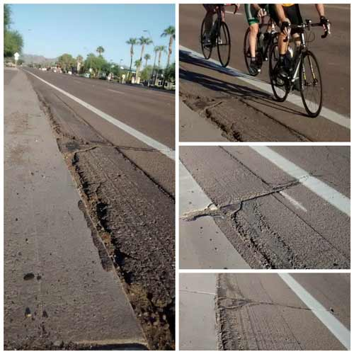 Asphalt continues to deteriorate; photos Aug 2016