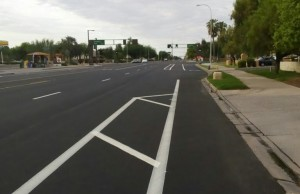 "McClintock Drive, Tempe. The left buffering necessitates a ""criss cross"" maneuver."