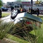 Flipped vehicle: NE corner Warner and McClintock, Tempe.