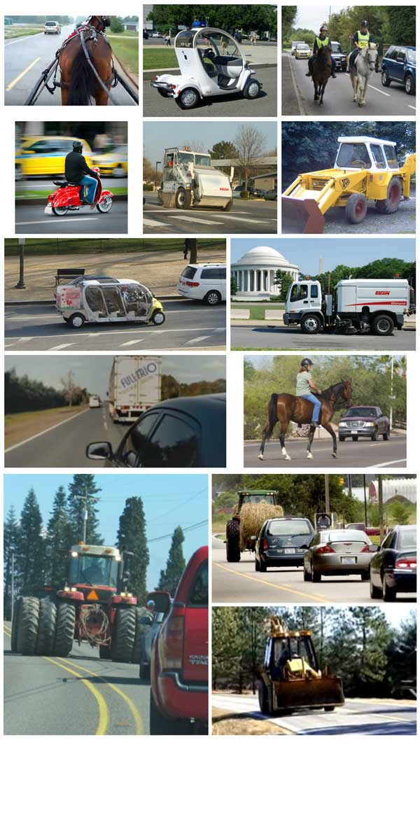 Collage of example slow moving vehicles/devices